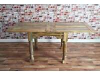 Extending Rustic Farmhouse Style Hardwood Table 3ft -6ft - Space Saving
