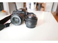 Canon EOS 100D camera + 2 lenses + 3 batteries