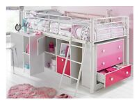 Brand New Mezzo Sleep & Storage Solution in Pink with Drawers Shelves Mid Sleeper