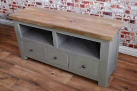 Rustic Farmhouse Tropical Hardwood TV Entertainment Cabinet Unit with Three Drawers