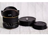 Opteka (Samyang) fish eye lens for Canon 1.6x sensor DSLR cameras 750d 760d 700d 650d 7d ii 70d 80d