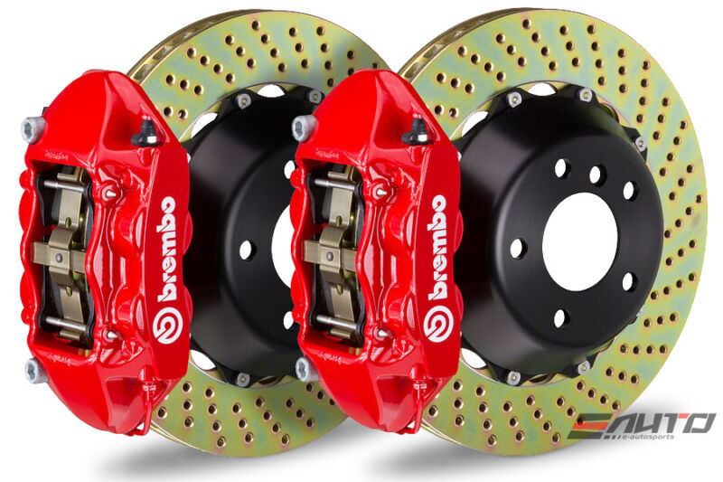 Brembo Rear Gt Brake Bbk 4pot Red 345x28 Drill Disc Corvette C6 Z06 Z51 05-14