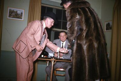 1950s Mens Suits & Sport Coats   50s Suits & Blazers Kodak 35mm Slide 1950s Red Border Kodachrome Man In plaid Suit Fur Coat Play $19.99 AT vintagedancer.com