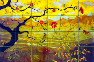 Mural ceramic landscape apple tree backsplash tile 431 for Apple tree mural