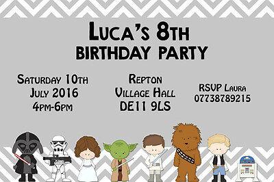 Personalised Star Wars Cartoon Character Birthday Party Invites inc Envelopes