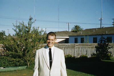 1950s Mens Suits & Sport Coats   50s Suits & Blazers Kodak 35mm Slide 1950s Red Border Kodachrome Handsome Man in Gray or White Suit $22.99 AT vintagedancer.com