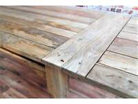 Reclaimed Rustic Kitchen Folding Extending Hardwood Dining Table Seats up to 12 - Delivery Available