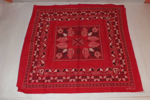 """Vintage Red Bandana Elephant Trunk Up Fast Color 24"""" X 22""""  Western Handkerchief"""