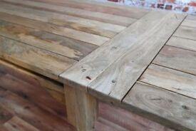 Extending Reclaimed Hardwood Farmhouse Dining Table Natural Hardwood Finish - Seats up to 12