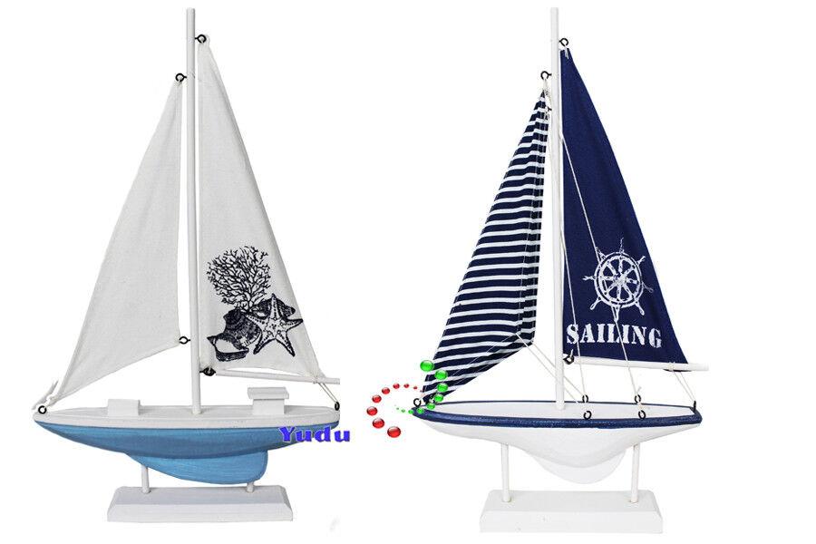 Deko Segelboot Boot Schiff  Holz / Stoff Marintime