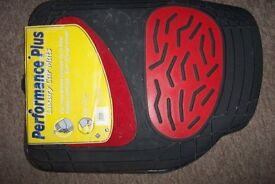 RED/BLACK PERFORMANCE CAR MATS--RUBBER AND CARPET--NEW