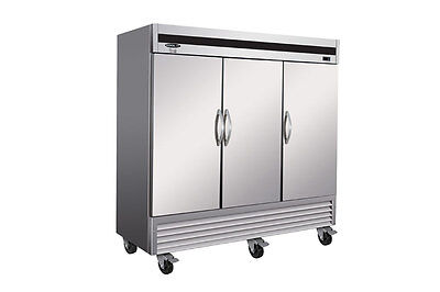 Kool-it Ikon Kb81r 72cf 3-door Stainless Commercial Reach-in Cooler Refrigerator