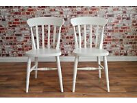 Painted FARROW & BALL Dining Chairs (132 Colours) and Rustic Wood Finish