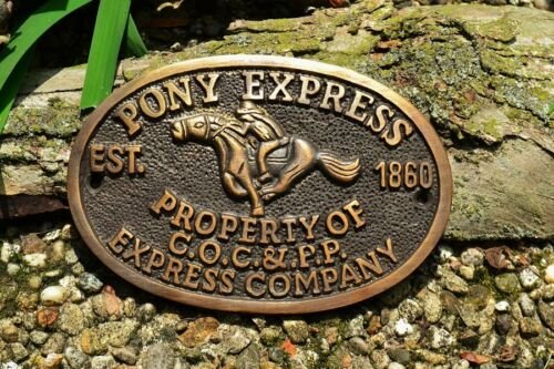 Pony Express Rider Brass Plaque Sign - Central Overland California & Pike