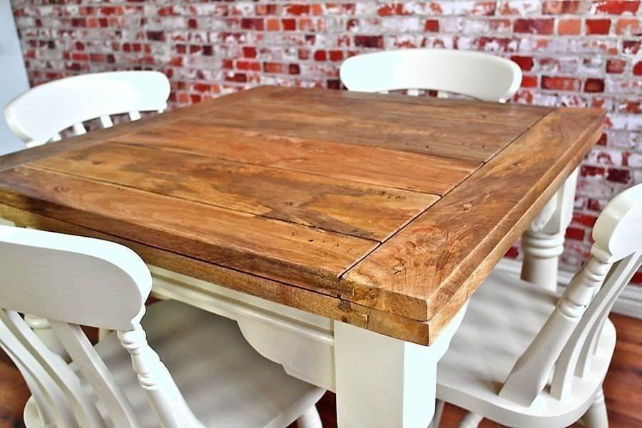 Rustic Extending Farmhouse Dining Table Set Drop Leaf Painted In