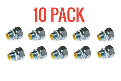 10 Pack Hubbell-raco 3513-8 34 In. Liquidtight Straight Connector Insulated