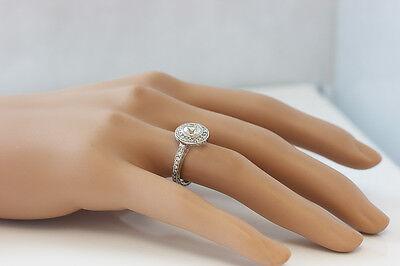 GIA I-SI1 18k White Gold Round Diamond Engagement Ring Bezel Set Art Deco 1.20ct 4