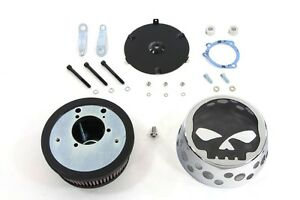 Chrome Black Skull Mesh Air Cleaner Filter Kit Harley Softail Dyna Touring XL