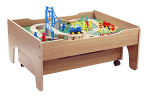 New reversible wooden train table 100 pieces train track for 100 piece mountain train set and wooden activity table