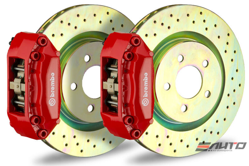 Brembo Front Gt Brake 4pot Red 330x28 Drill Disc Mazda 6 04-08 Fusion 06-08
