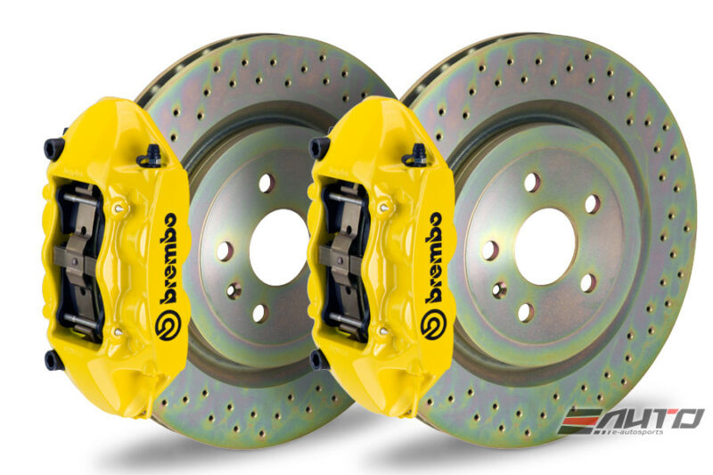 Brembo Front Gt Brake 4piston Yellow 345x29 Drill Disc For Vw Golf Gti Mk7 15-17