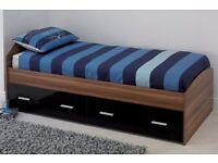 Brand New Carleton High Gloss Walnut Black Single Storage Bed 2 Drawers