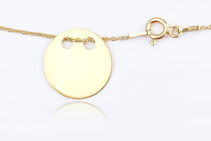 Celebrity Layered Style Pendant Necklace Solid Circle 24K Gold Over Silver 925