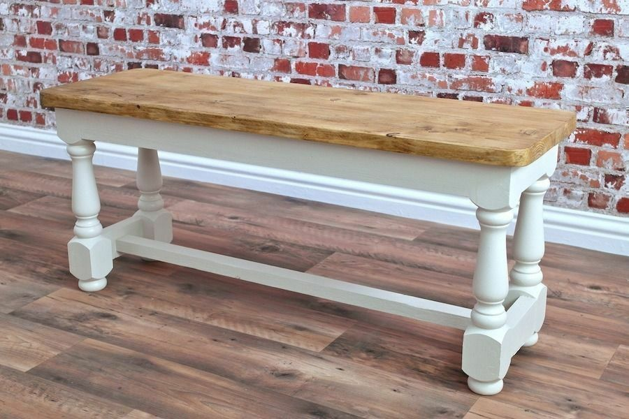 Rustic Farmhouse Style Reclaimed Solid Pine Bench Backed