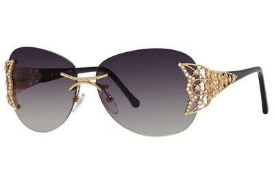 Caviar Sunglasses 6854 C 21 Gold Black Frame Dark Gray Lens New Authentic Italy