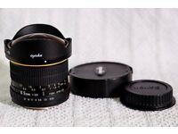 Opteka (Samyang) fish eye lens for Canon 1.6x sensor DSLR cameras like 750d 760d 700d 70d 80d 7d ii