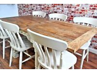 Drop Leaf Painted in Farrow & Ball Space Saving 3-6 FT Extending Rustic Farmhouse Dining Table Set