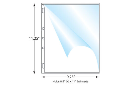 """Heavy Duty Side Load Page Protector, Holds 8.5x11"""" Pages - Box of 250"""