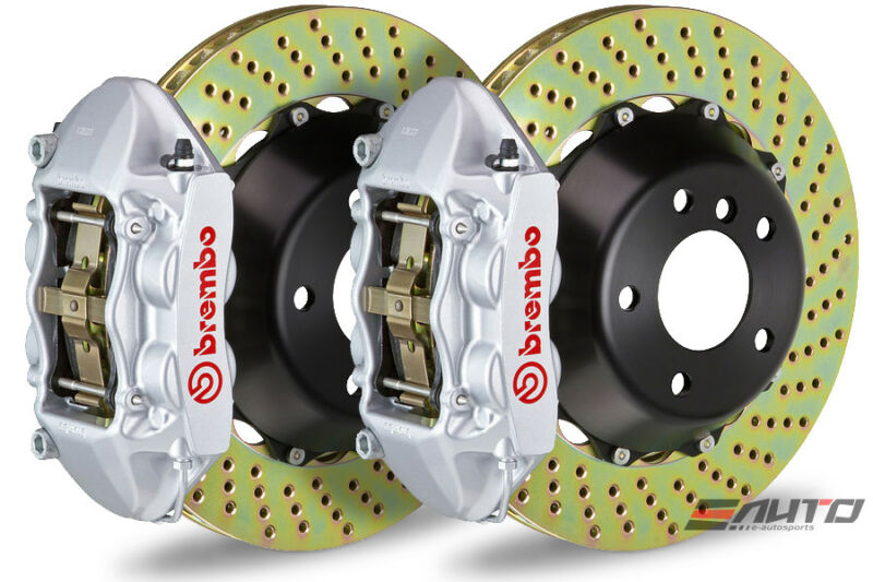 Brembo Rear Gt Brake 4pot Caliper Silver 380x28 Drill Rotor Range Rover 03-09
