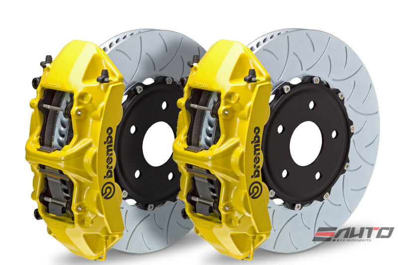 Brembo Front Gt Brake 6pot Caliper Yellow 350x34 Type3 Slot Disc For Sti 05-14