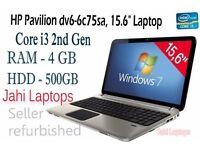 "HP Pavilion dv6-6c75sa, 15.6"" Laptop, Core i3 2nd Gen., 4GB Ram, 500GB HDD Win7x"