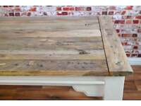 Hardwood Extendable Rustic Farmhouse Dining Table Painted in Farrow & Ball - Seats Up To 12