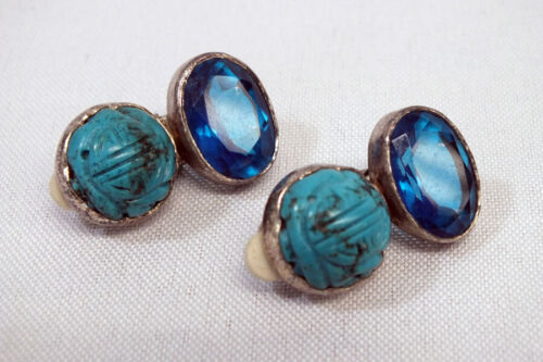 Vtg Rebecca Collins Sterling Silver Turquoise Blue Crystal Earrings Dallas Texas