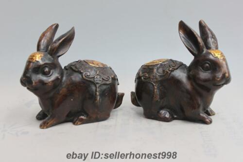 Chinese Feng Shui Copper Bronze Twelve Zodiac Rabbit Sculpture Pair Statue