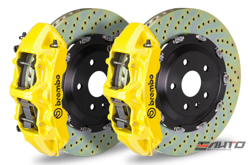 Brembo Front Gt Bbk Brake 6 Pot Caliper Yellow 380x34 Drill Disc Benz C300 W205