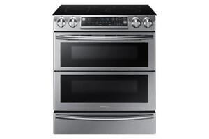 "Samsung 30"" 5.8 Cu. Ft. Slide-In Smooth Top Electric Range Black Stainless (SAM975)"