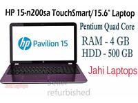 "HP 15-n200sa TouchSmart/15.6"" Laptop/Pentium Quad Core/4GB RAM/500GB HDD Win8- X"