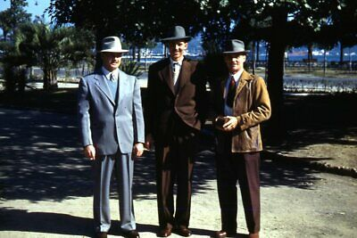 1950s Mens Suits & Sport Coats   50s Suits & Blazers 1950s Red Border 35mm Slide Kodachrome Three Men in Suits and Hats on the Street $21.99 AT vintagedancer.com