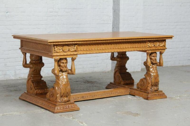 BEAUTIFUL CARVED OAK MAN OF THE MOUNTAIN GERMAN DESK AND CHAIR  - BAE3