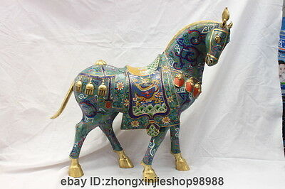 "21"" Royal 100% Pure Bronze 24K Gold Cloisonne Zodiac Year Dragon Horse Statue"