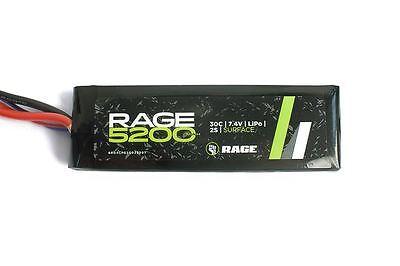 Rage 5200Mah 7.4V 2S 30C Lipo Soft Case Battery Pack, T-Plug Connector