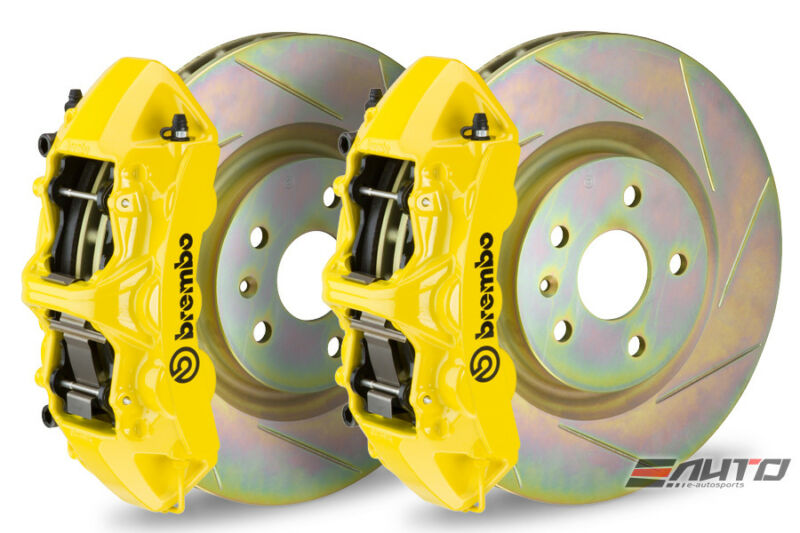 Brembo Front Gt Big Brake Bbk 6piston Yellow 355x32 Slot Disc Camaro V6 10-14