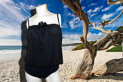 Gottex Sheer Illusions Black Strapless Swimsuit Bathing S...