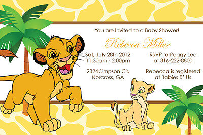 Lion King Simba Custom Baby Shower Birthday Party Custom Digital Invitation - Baby Lion King