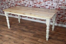 8ft Rustic Reclaimed Pine Dining Table - 12 Seater Christmas Delivery Available