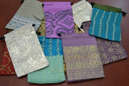 """24 PCS HANDMADE DRAWSTRING JEWELRY GIFT POUCHES BAGS 4"""" x 6"""" #8022"""